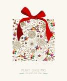 Cartolina d'auguri d'annata del regalo di Natale Fotografia Stock Libera da Diritti