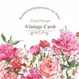 Cartolina d'auguri d'annata dell'acquerello con la fioritura Fotografia Stock