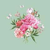 Cartolina d'auguri d'annata dell'acquerello con la fioritura Immagini Stock