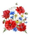 Cartolina d'auguri d'annata dell'acquerello di estate con Fotografia Stock