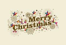Cartolina d'auguri d'annata di Buon Natale retro Immagini Stock