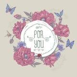 Cartolina d'auguri d'annata di estate con i papaveri di fioritura illustrazione vettoriale