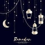 Cartolina d'auguri d'argento di celebrazione di Ramadan Kareem Fotografie Stock Libere da Diritti