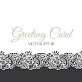 Cartolina d'auguri decorata con pizzo floreale Fotografia Stock