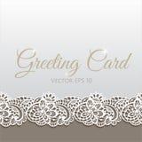 Cartolina d'auguri decorata con pizzo floreale Immagini Stock