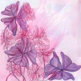 Cartolina d'auguri decorativa dell'acquerello con le foglie porpora Fotografia Stock Libera da Diritti