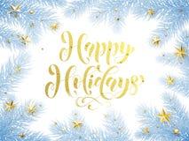 Cartolina d'auguri decorativa felice di vacanze invernali, manifesto Fotografie Stock