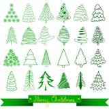 Cartolina d'auguri degli alberi di Natale Vettore Fotografia Stock