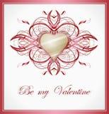 Cartolina d'auguri dei biglietti di S. Valentino con cuore. Immagini Stock Libere da Diritti