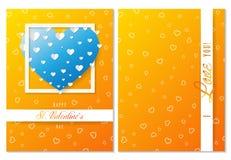 Cartolina d'auguri dei biglietti di S. Valentino della st, cuori ed amore arancio, vettore Fotografie Stock Libere da Diritti