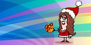 Cartolina d'auguri del Babbo Natale della donna Fotografie Stock Libere da Diritti
