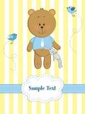 Cartolina d'auguri del bambino con l'orso di orsacchiotto Immagini Stock