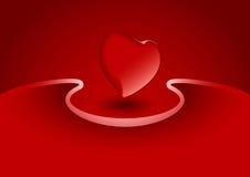 Cartolina d'auguri del biglietto di S. Valentino con cuore nel colore rosso, illustra di vettore illustrazione di stock
