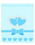 Cartolina d'auguri del biglietto di S. Valentino con i cuori blu Fotografie Stock Libere da Diritti