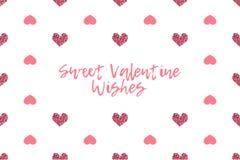 Cartolina d'auguri del biglietto di S. Valentino con testo e cuori rosa Fotografia Stock