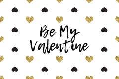 Cartolina d'auguri del biglietto di S. Valentino con testo, il nero ed i cuori dell'oro royalty illustrazione gratis