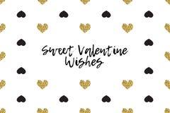 Cartolina d'auguri del biglietto di S. Valentino con testo, il nero ed i cuori dell'oro Fotografia Stock Libera da Diritti