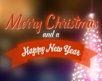 Cartolina d'auguri del bokeh di Natale con l'albero di Natale illuminato royalty illustrazione gratis