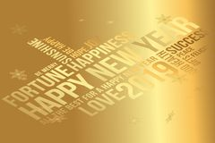 Cartolina d'auguri 2019 del buon anno Augura ogni successo, la felicità, la gioia, il meglio di tutto, il buona salute, amore illustrazione di stock