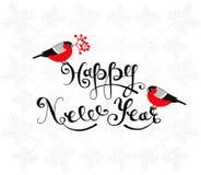 Cartolina d'auguri del buon anno con i ciuffolotti e l'iscrizione disegnata a mano Fotografie Stock Libere da Diritti