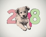 Cartolina d'auguri 2018 del buon anno con il cane Fotografia Stock