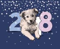 Cartolina d'auguri 2018 del buon anno con il cane Fotografia Stock Libera da Diritti