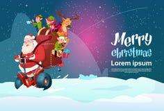 Cartolina d'auguri del buon anno di festa di Natale del motorino di Santa Claus Elf Deer Ride Electric Immagini Stock Libere da Diritti