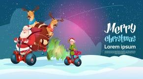 Cartolina d'auguri del buon anno di festa di Natale del motorino di Santa Claus Elf Deer Ride Electric Fotografia Stock