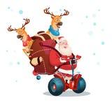 Cartolina d'auguri del buon anno di festa di Natale di Santa Claus Deer Ride Electric Scooter Fotografia Stock