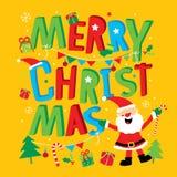 Cartolina d'auguri del buon anno di Buon Natale Santa Claus Cartoon Vector Fotografie Stock Libere da Diritti