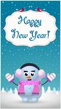 Cartolina d'auguri del buon anno di snowgirl allegro sveglio in cuffia illustrazione vettoriale