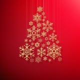 Cartolina d'auguri del buon anno e di Buon Natale con l'albero di Natale brillante dorato dei fiocchi di neve su fondo rosso ENV illustrazione vettoriale