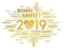 Cartolina d'auguri 2019 del buon anno in francese illustrazione vettoriale