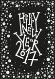 Cartolina d'auguri del buon anno, stampa, decorazione di inverno, sovrapposizione della foto, invito, progettazione dell'autoades Fotografia Stock
