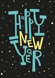 Cartolina d'auguri del buon anno, stampa, decorazione di inverno, sovrapposizione della foto, invito, progettazione dell'autoades Fotografie Stock Libere da Diritti
