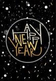 Cartolina d'auguri del buon anno, stampa, manifesto, decorazione di inverno, Fotografia Stock Libera da Diritti