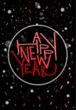 Cartolina d'auguri del buon anno, stampa, manifesto, decorazione di inverno, Immagini Stock Libere da Diritti