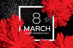 Cartolina d'auguri del fiore di carta Giorno felice del ` s delle donne Genera la festa Immagini Stock