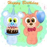 Cartolina d'auguri del fumetto di compleanno con gli orsi royalty illustrazione gratis