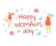 Cartolina d'auguri del giorno della donna felice con ballare delle ragazze illustrazione di stock