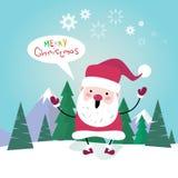Cartolina d'auguri del manifesto di Santa Clause Happy New Year di Buon Natale Fotografie Stock Libere da Diritti
