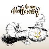 Cartolina d'auguri del manifesto di vettore per Halloween Zucca che porta il cappello della strega Illustrazione disegnata a mano Fotografia Stock