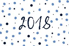 Cartolina d'auguri del nuovo anno con i punti blu blu scuro e scintillati Fotografia Stock Libera da Diritti