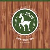 Cartolina d'auguri del nuovo anno con la capra Fotografia Stock