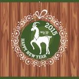 Cartolina d'auguri del nuovo anno con la capra Immagine Stock