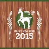 Cartolina d'auguri del nuovo anno con la capra Fotografia Stock Libera da Diritti