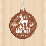 Cartolina d'auguri del nuovo anno con la capra Immagine Stock Libera da Diritti