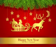 Cartolina d'auguri del nuovo anno con la siluetta dell'oro di Santa Claus Fotografia Stock