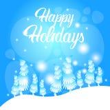 Cartolina d'auguri del nuovo anno di Forest Landscape Merry Christmas Happy di inverno Immagini Stock