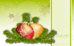 Cartolina d'auguri del nuovo anno e di Natale Immagine Stock